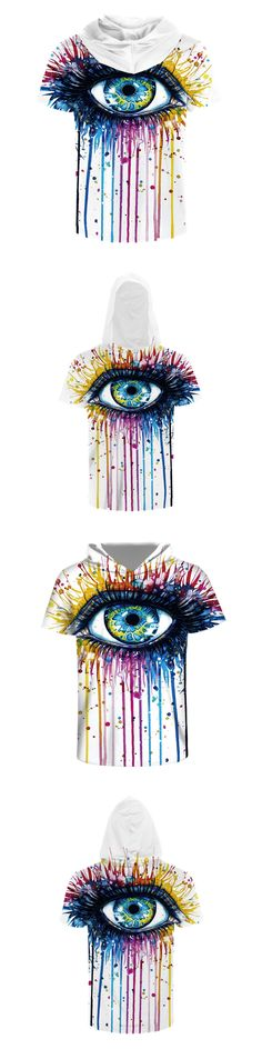 2017 luxury New Fashion Men/Women 3d T-shirt Print Big Crying Eyes Outflow Paint Hip Hop Hooded T shirt Tops Tees With Hat