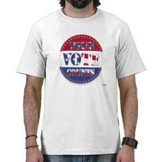 YOUR VOTE COUNTS Round with US Flag & 50 Stars Shirts    *This design is available on T-shirts, hats, mugs, buttons, key chains and much more*