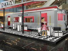 Prada: Get On Prada's Silver Line At Paragon Fashion Store Display, Dairy Queen, Popup, Restaurant Bar, Installation Art, Luxury Branding, Prada, Diagram, Events