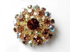 Austrian Crystal Brooch Autumn Aurora Borealis by JewelryQuestDesign, $31.99