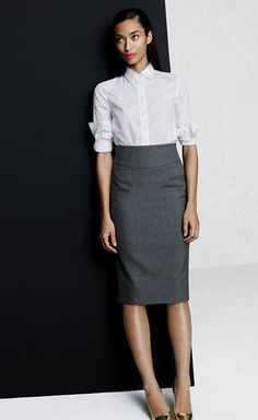 Wear-to-Work: The Pencil Skirt | a long, lean silhouette with timeless appeal in our silky-smooth Super 120s merino wool | J. Crew | February 2013