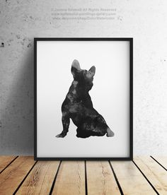 French bulldog Painting, Dog Giclee Art Print, Black and White, Frenchie, Watercolor Silhouette, Dogs Wall Decor