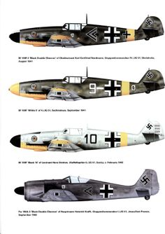 1935-1945 Messerschmitt Bf 109. Luftwaffe, HAF, ANP, RRAF - Fighter. Engine: Daimler-Benz DB 605A-1, liquid-cooled inverted V12, 1,475 PS (1,475 hp, 1,085 kW). Armament: 2 x 13 mm (.51 in) synchronized MG 131 machine guns, 1 x 20 mm (.78 in) MG 151/20 cannon as centerline or 1 x 30 mm (1.18 in) MK 108 cannon as centerline Motorkanone, 2 x 20mm MG 151/20 underwing cannon pods, 2 x 21cm (8in) Wfr Gr.20 rockets, 1 x 250kg bomb, 4 x 50kg bombs, 1 x 300 ltr drop tank. Max Speed: 640 km/h @ 6,300m