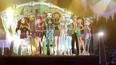 """This is an HD screenshot of some of the characters from the Monster High TV special, """"Scaris: City of Frights"""", together in a group formation at the end."""