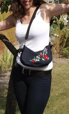 FREE SHIPPING Shoulder bag with Kalocsa by Mariannasboutique, $55.00