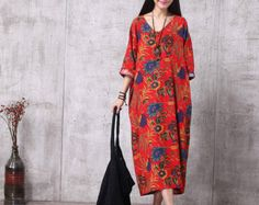 Casual Loose Fitting Oversized Cotton and Linen  Long Dress Blouse- Women Maxi dress - maternity dress