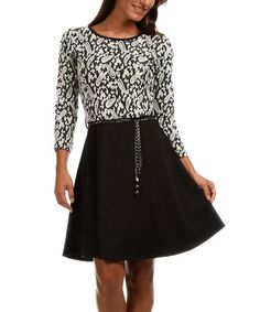 Loving this Black & Ecru Paisley Belted Skater Dress on #zulily! #zulilyfinds