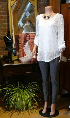 Fantastic outfit from Joseph Ribkoff, jewellery from Anne-Marie Chagnon, available at The Kawartha Store, Fenelon Falls, Ontario