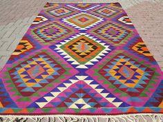 VINTAGE Turkish Kelim Rug Carpet Handwoven Area Rug by sofaART, $529.00