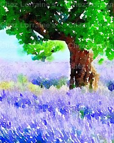 Under the Lavender Tree (2): A Provence France Inspired Lavender Watercolor Fine Art Print, French Cottage Chic Home Decor