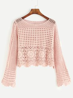 SheIn offers Pink Eyelet Crochet Blouse & more to fit your fashionable needs.To find out about the Pink Eyelet Crochet Blouse at SHEIN, part of our latest Blouses ready to shop online today!Hollow Out Crochet Top - White Pull Crochet, Gilet Crochet, Mode Crochet, Crochet Blouse, Knit Crochet, Crochet Tops, Knitting Patterns, Crochet Patterns, Crochet Woman