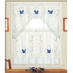 Great Blue Butterfly Kitchen Curtains