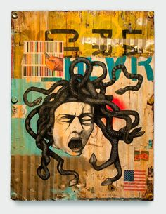 """You may stare at this medU.S.A. as long as you like. The Date Farmers  medU.S.A., 2011   Mixed media on metal  32 1/2"""" (H) x 24 5/8"""" (W) x 1 1/2"""" (D)  Ace Gallery"""