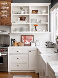 open cabinets, white cabinets, kitchen