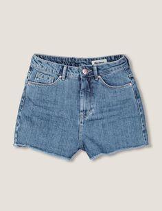 Short Jean Taille Haute Frangé