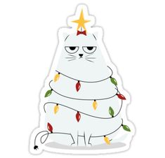 Grumpy Christmas Cat – Funny Cartoon Christmas Art Print • Also buy this artwork on stickers, apparel, phone cases, and more.