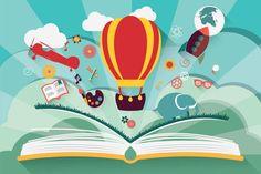 Imagination concept - open book with air balloon royalty-free stock vector art Air Balloon, Balloons, Balloon Rocket, Improve Reading Comprehension, Open Book, Creative Sketches, Paint Markers, Pencil Illustration, Free Vector Art