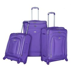 Olympia Luggage Luxe 3 Pack Set Plum One Size ** More info could be found at the image url.