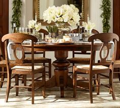 Adjustable table - just right for two or a crowd. Tivoli Extending Pedestal Dining Table - Tuscan Chestnut stain | Pottery Barn
