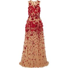 Zuhair MuradEmbellished Tulle Gown (€6.865) ❤ liked on Polyvore featuring dresses, gowns, beige, floral evening gown, floral gown, sequin gown, beaded evening dresses and floral print evening gown