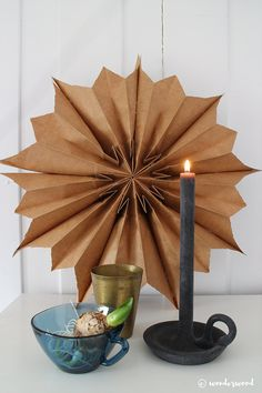 Make a folded paper star from bags