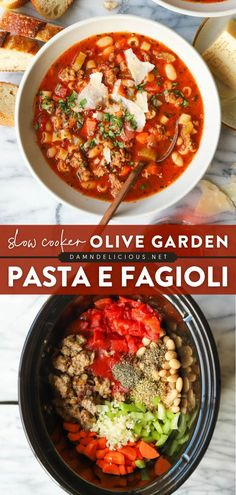 Bust out your crockpot for an easy main dish! This Pasta E Fagioli recipe is perfect to throw in the slow cooker when you need a bowl of comfort food at the end of the day. Gotta love this Olive Garden copycat! Save this dinner idea! Easy Pasta Recipes, Easy Meals, Healthy Recipes, Olive Garden Pasta, Pasta E Fagioli, Mediterranean Recipes, Food To Make, Slow Cooker, Main Dishes