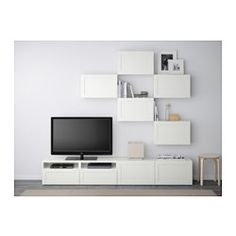 BESTÅ TV storage combination, Hanviken white - 240x20/40x204 cm - IKEA