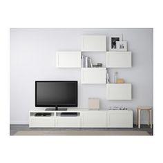 BESTÅ TV storage combination - Hanviken white, drawer runner, soft-closing - IKEA