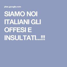 SIAMO NOI ITALIANI GLI OFFESI E INSULTATI...!!!