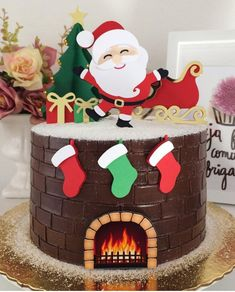 Delicias de Natal Christmas Cake Designs, Christmas Cake Decorations, Christmas Cupcakes, Christmas Sweets, Holiday Cakes, Christmas Cooking, Christmas Goodies, Holiday Baking, Christmas Desserts