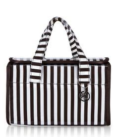 Henri Bendel Brown and White Stripe Double Handle Cosmetic Case