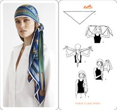 Learn how to wear your Hermes Scarf in different ways. Hermès Scarf Around Your Neck, as a Belt, Clothing Accessory, Handbag and more. Explore how to Tie a Hermes Scarf in stylish ways! Hair Wrap Scarf, Hair Scarf Styles, Ways To Wear A Scarf, How To Wear Scarves, Turban Mode, Turban Hijab, Scarf Knots, Paris Mode, Turban Style