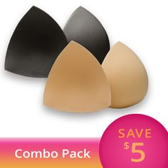 8bd06c7ebf45c Each Triangle Bikini Bra Pad Combo Pack contains one set of nude and one  set of