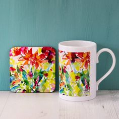 Diana Fegredo Studio Dahlia Watercolour Mug And Coaster Set ($23) ❤ liked on Polyvore featuring home and kitchen & dining