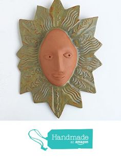 Terracotta Sun Face Ceramic Wall Sculpture from Cosmic Mermaid http://www.amazon.com/dp/B018OFRO4W/ref=hnd_sw_r_pi_dp_ozJzwb1H5VX3D #handmadeatamazon