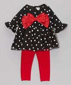 Take a look at this Black Polka Dot Tunic & Red Leggings - Infant by Rare Editions on #zulily today!