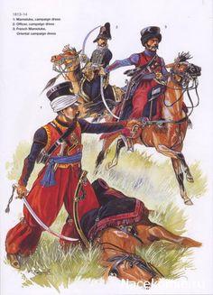 Mameluke 1813-14 1-Mameluke,campaign dress 2-Officer,campaign dress 3-French Mameluke,Oriental campaign dress