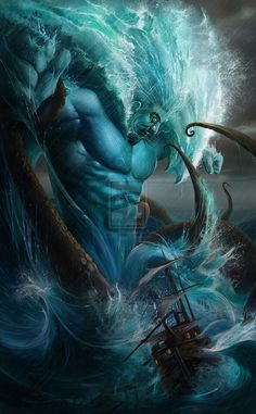 """POSEIDON - He is one of the twelve Olympian deities of the pantheon in Greek mythology. His main domain is the ocean, and he is called the """"God of the Sea"""". Additionally, he is referred to as """"Earth-Shaker"""" due to his role in causing earthquakes. Mythological Creatures, Fantasy Creatures, Mythical Creatures, Greek Gods And Goddesses, Greek And Roman Mythology, Fantasy Kunst, Fantasy Art, Digital Art Illustration, Mystique"""
