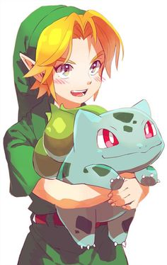 Link and Bulbasaur << YAYY!! Anything with Link or Bulbasaur is an instant fave, but these cuties just look especially adorable in this photo ahh ♡