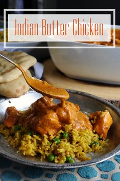 Indian Butter Chicken (Chicken Makhani) contains tender pieces of chicken floating in a creamy curry sauce flavored with onions, garlic, and Indian spices. Yummy Chicken Recipes, Easy Delicious Recipes, Yum Yum Chicken, Pork Recipes, Lunch Recipes, Easy Dinner Recipes, Slow Cooker Recipes, Real Food Recipes, Butter Chicken Sauce