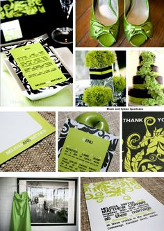 lime green and black and silver wedding theme | Cocoa Berry Design: Black and Green Goodness