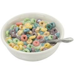 Cereal Bowl Of Fruity O's ($22) ❤ liked on Polyvore featuring home, kitchen & dining, dinnerware, multi colored dinnerware, cereal bowl, breakfast fruit bowl, colorful dinnerware and breakfast bowl