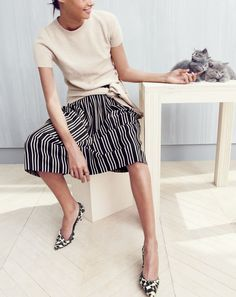 J.Crew women's Collection cashmere short-sleeve tee, pleated midi skirt in triple stripe, castle ring and Collection Colette calf hair d'Orsay kitten heels.