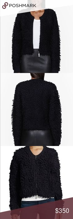 McQ by Alexander McQueen Loop Jacket/ Cardigan NWT - The looped knit of McQ Alexander McQueen's black wool jacket will add texture to every look. Keep your proportions in check by teaming yours with skinny jeans or a fitted skirt. Size small.  * Black loop-knit heavyweight wool * Ribbed trims * Zip fastening through front * 100% wool * Machine wash McQ by Alexander McQueen Sweaters Cardigans