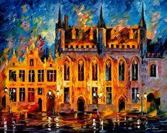 BRUGES - PALETTE KNIFE Oil Painting On Canvas By Leonid Afremov http://afremov.com/BRUGES.html?bid=1&partner=20921&utm_medium=/vpin&utm_campaign=v-ADD-YOUR&utm_source=s-vpin