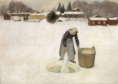 """""""Washing on the ice"""" (1900) By Pekka Halonen, Finnish Artist (1865-1933) oil on canvas; 125 x 180 cm © Ateneum, Helsinki, Finland http://www.ateneum.fi/en/ https://www.facebook.com/AteneumArtMuseum"""