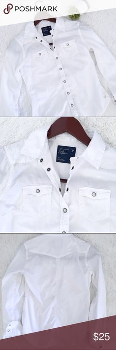 AE • white button down •American Eagle •Reposh  •White button down •Snap button closures  •Mint condition - my daughter wore it for part of her Halloween costume. •Size: small  •Please see all pics, read description, and ask questions before purchasing   •No Trades• •15% off 2+ Bundle• American Eagle Outfitters Tops Button Down Shirts