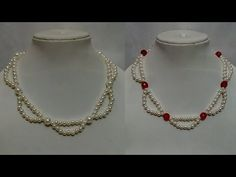 How to make pearl necklace . Easy tutorial - YouTube