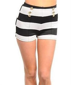 Black White Stripe Sailor 50s Rockabilly High Waisted Fitted 60s Nautical Shorts
