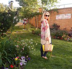 Top – Kate Spade Saturday // Kimono – Park City Boutique Find // Jeans – Joe's // Necklace – Dillard's // Bag – Kate Spade // Bracelets – Park City Southwestern Boutique, David Yurman // Rings – both David Yurman // Sandals – Coach